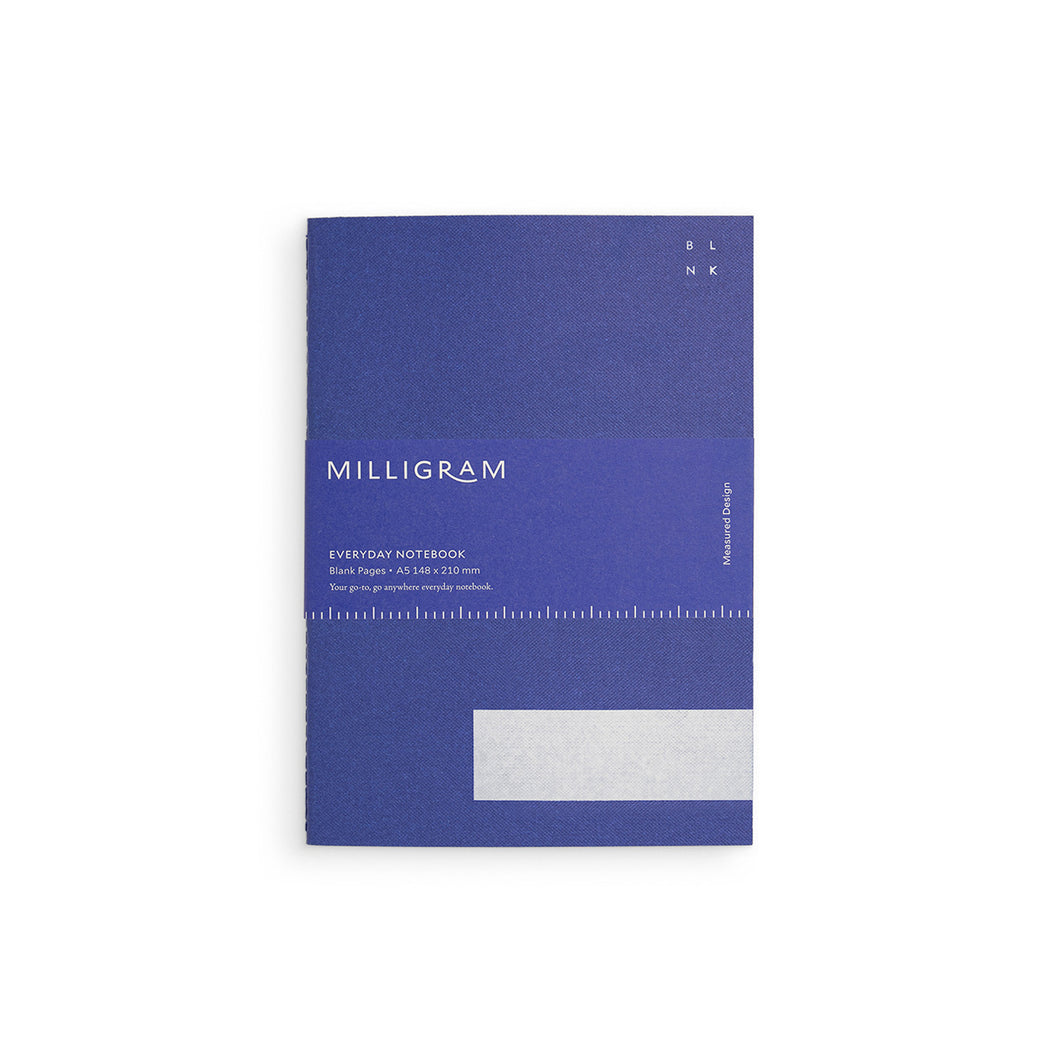 Milligram - Everyday Notebook - Blank - A5 - Blue