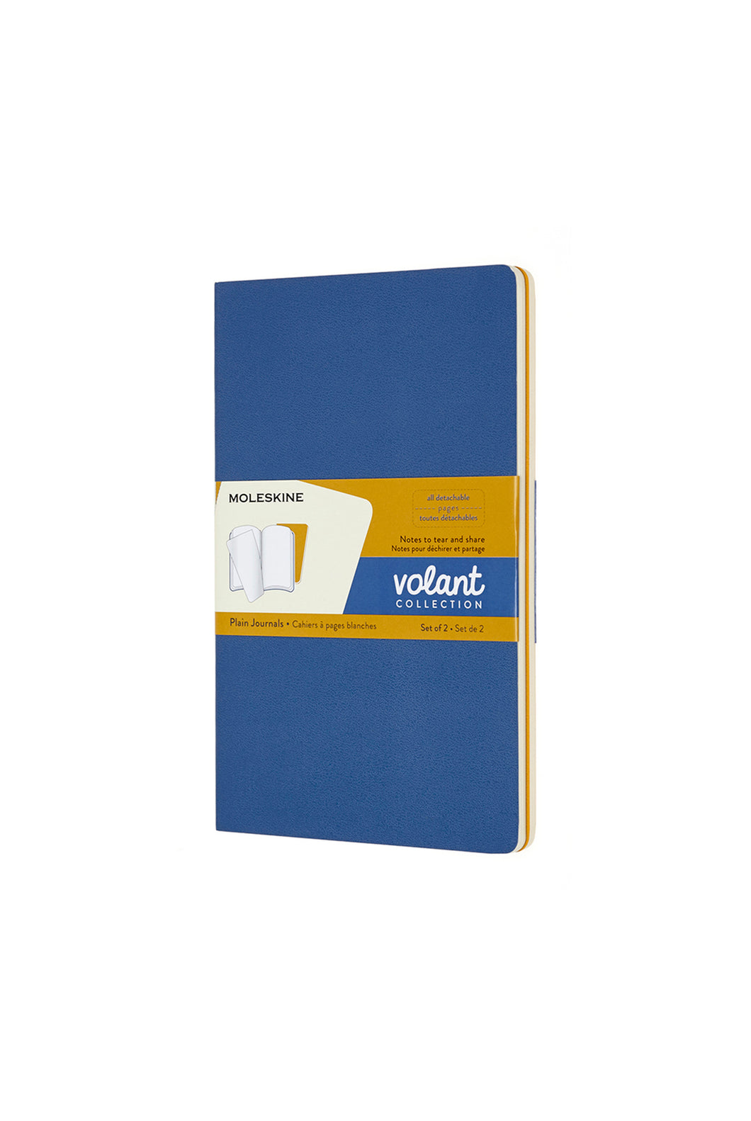 Moleskine - Volant Notebook - Plain - Large (13x21cm) - Forget Me Not Blue & Amber Yellow