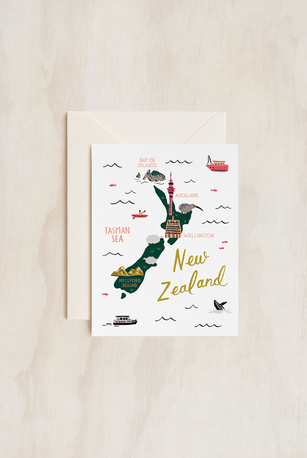 Rifle Paper Co - Single Card - Map of New Zealand