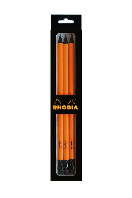 Rhodia - Pack of 3 Premium Graphite Pencils - Orange