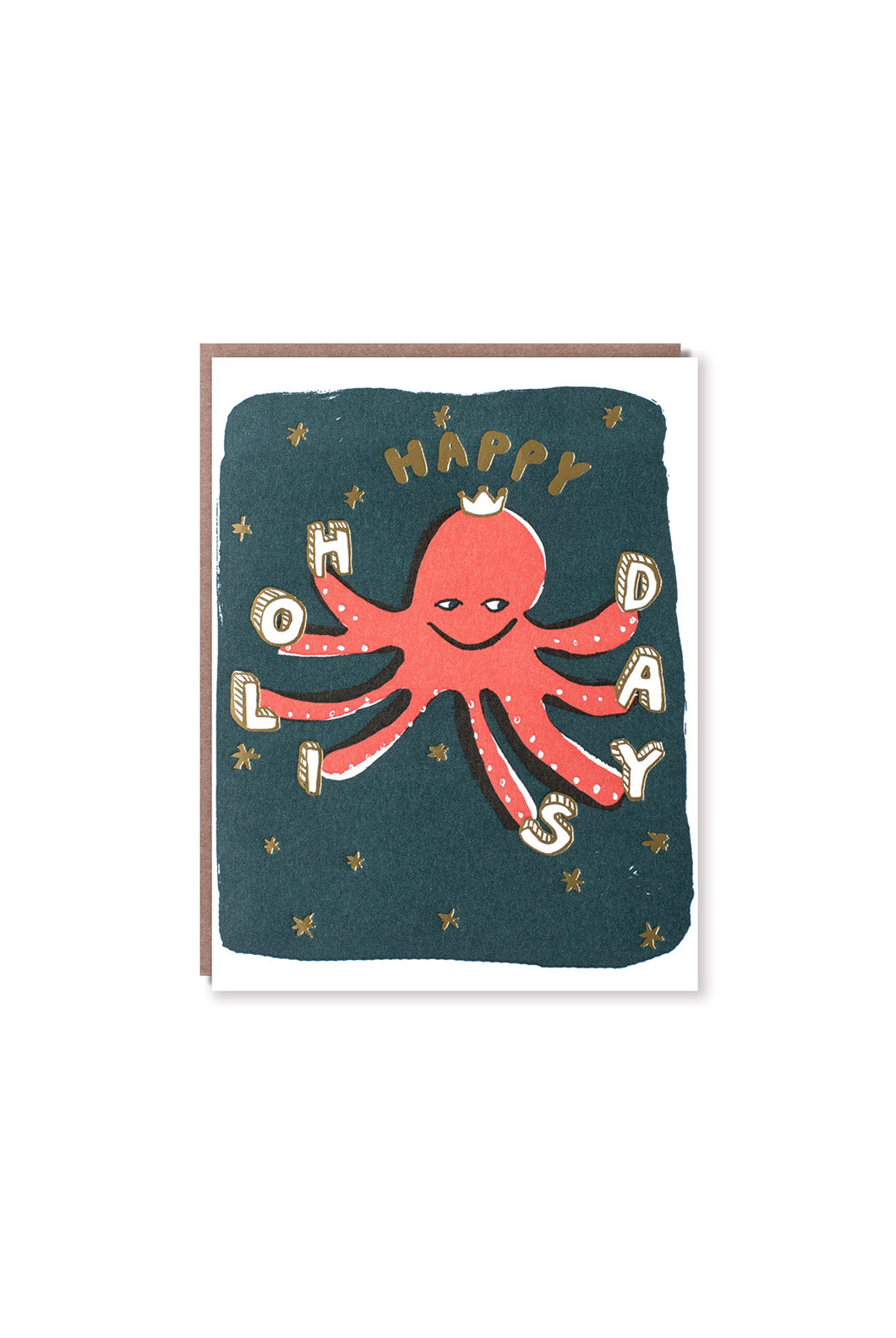 Egg Press - Single Card - Octopus Happy Holidays