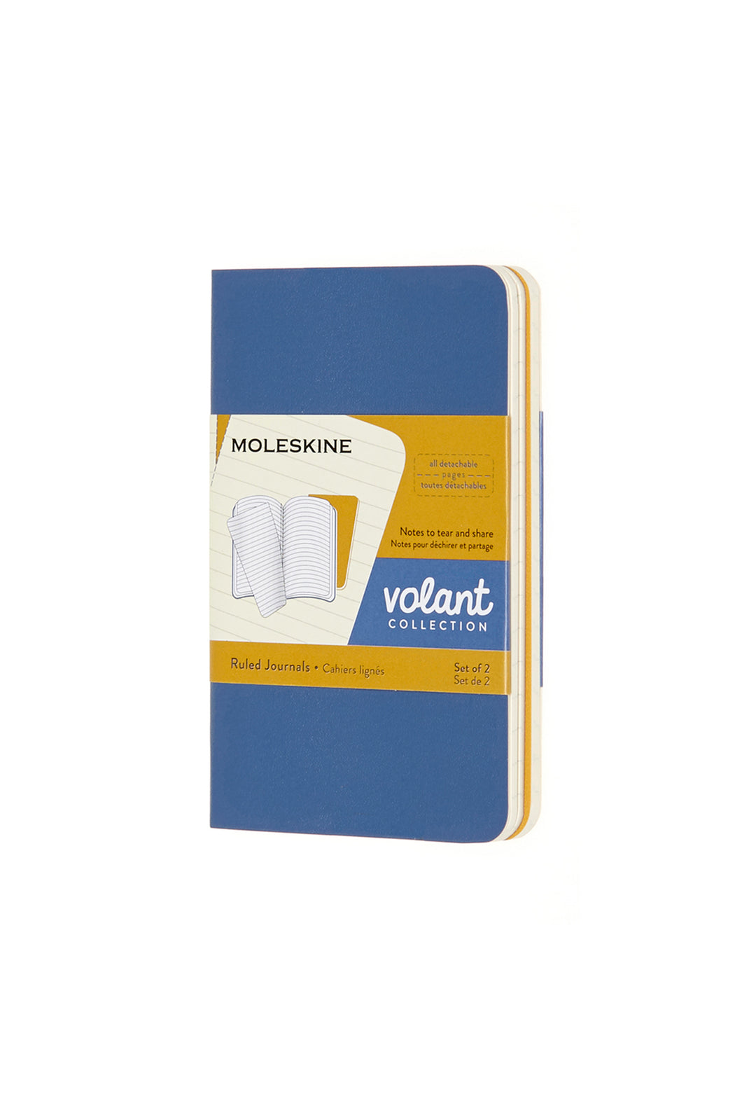 Moleskine - Volant Notebook - Ruled - Extra Small (6.5x10cm) - Forget Me Not Blue & Amber Yellow
