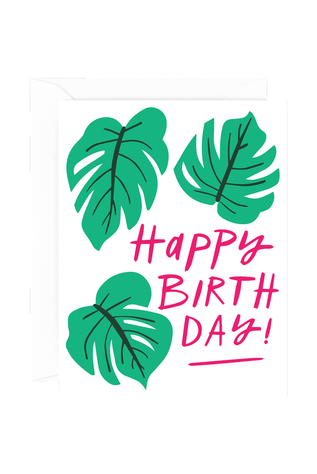 WRAP - Sandi Falconer Collection - Single Card with Foil - Happy Birthday Monstera