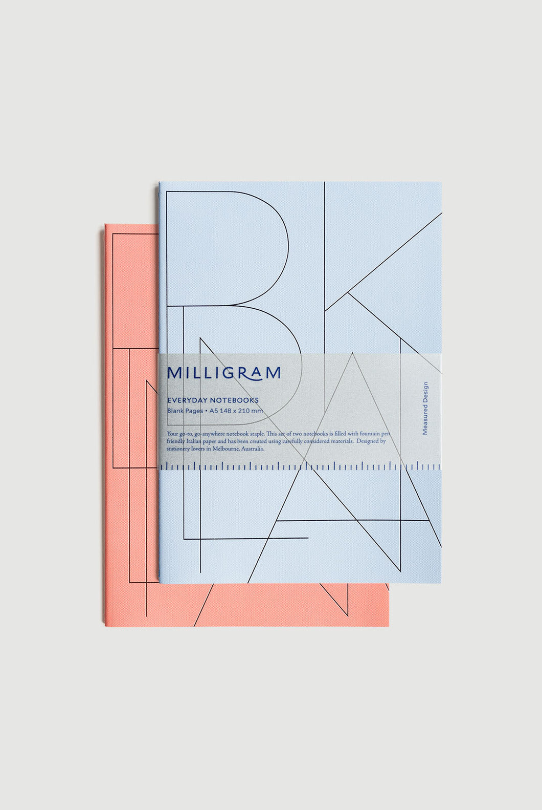 Milligram - Everyday Notebook - Set of 2 - Blank - A5 (21 x 15cm) - Peach & Blue