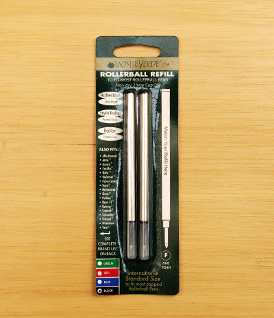 Monteverde - Rollerball Pen Refill - Suits Capped Rollerball Pens - Fine - Black