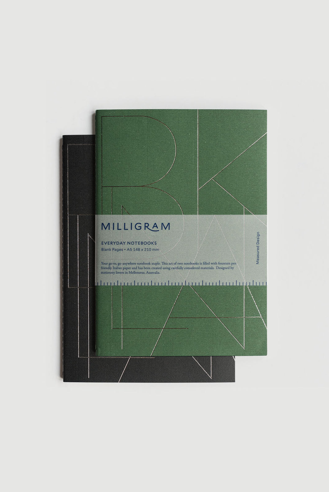 Milligram - Everyday Notebook - Set of 2 - Blank - A5 (21 x 15cm) - Green & Black