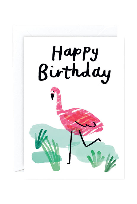 WRAP - Charlotte Trounce Collection - Single Card - Happy Birthday Flamingo
