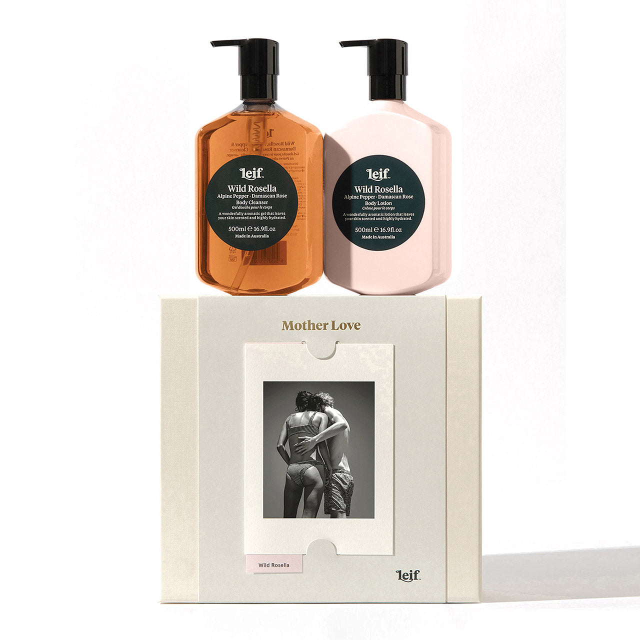 Leif - 'Mother Love' Gift Set of 2 - Body Cleanser & Body Lotion - 500ml - Wild Rosella