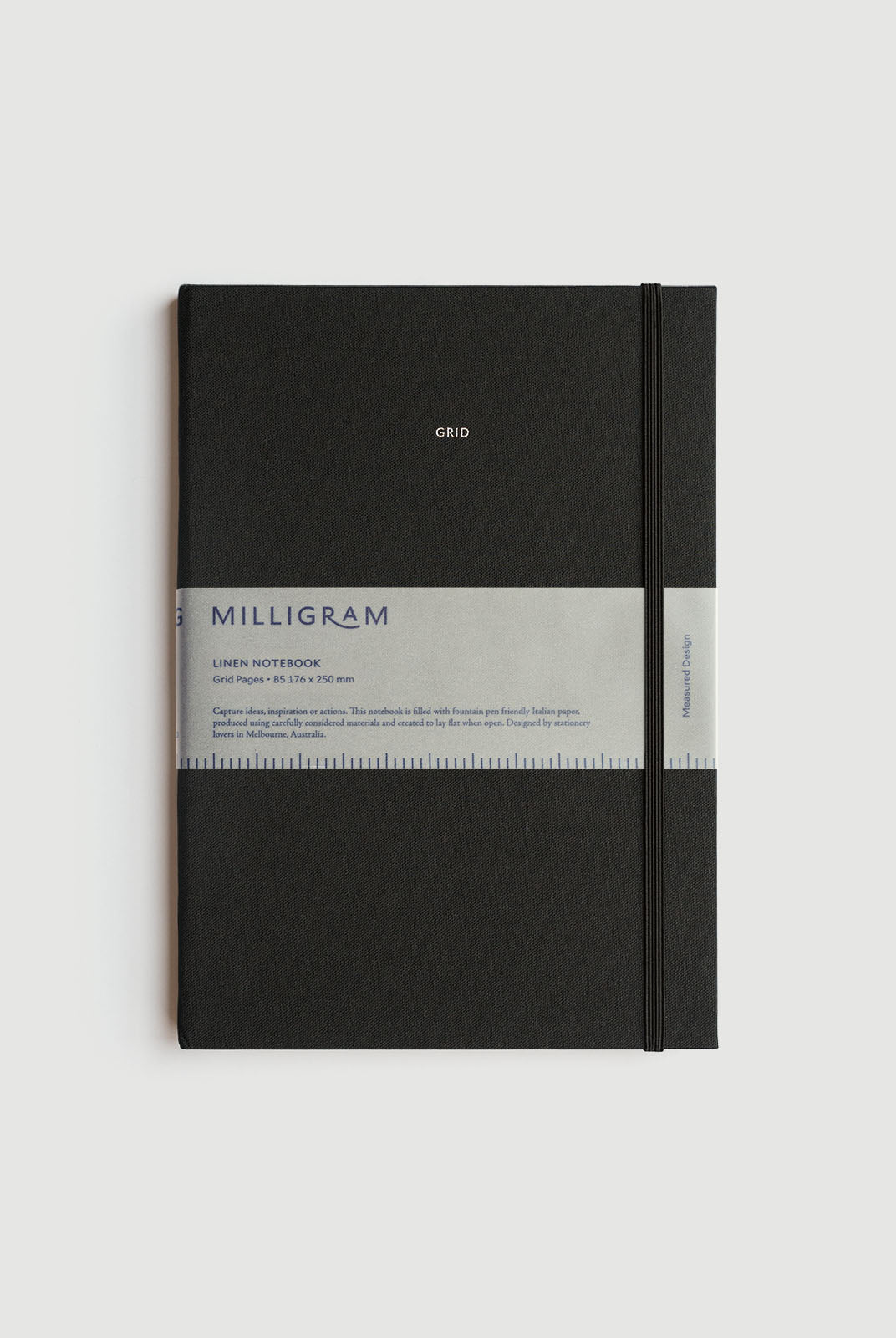 Milligram - Linen Notebook - Grid - B5 (25 x 19cm) - Black