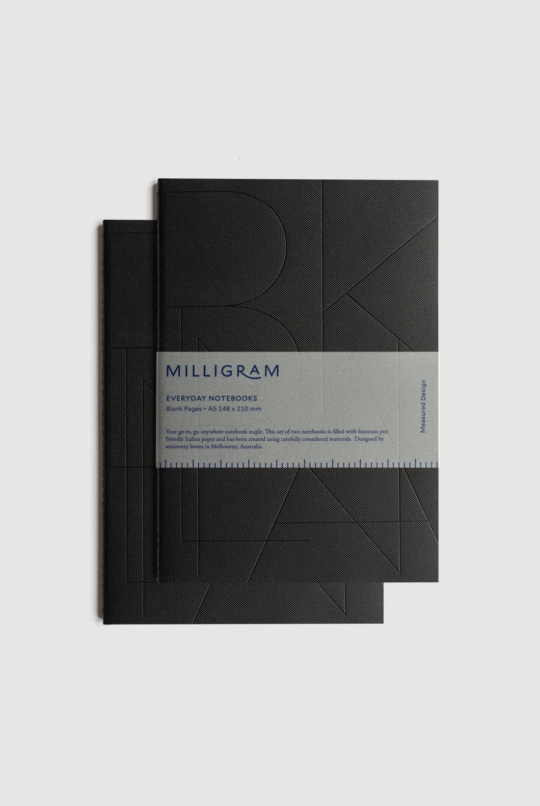 Milligram - Everyday Notebook - Set of 2 - Blank - A5 (21 x 15cm) - Black