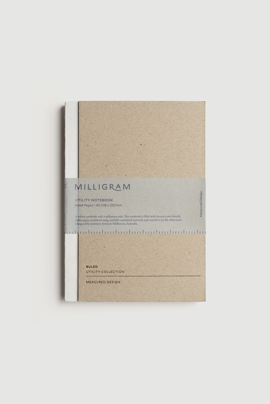 Milligram - Utility Notebook - Ruled - A5 (21 x 15cm) - White