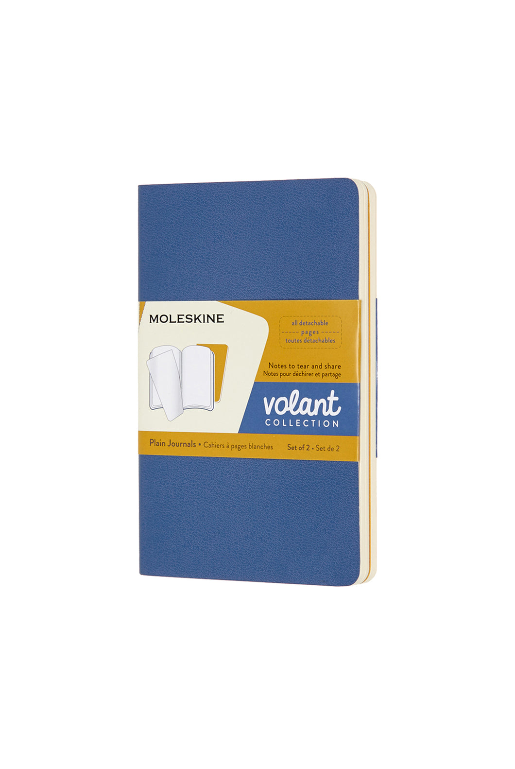 Moleskine - Volant Notebook - Plain - Pocket (9x14cm) - Forget Me Not Blue & Amber Yellow