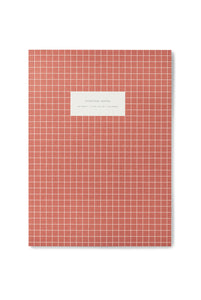 Kartotek - Check Notebook - Ruled - Extra Large - Brick Red