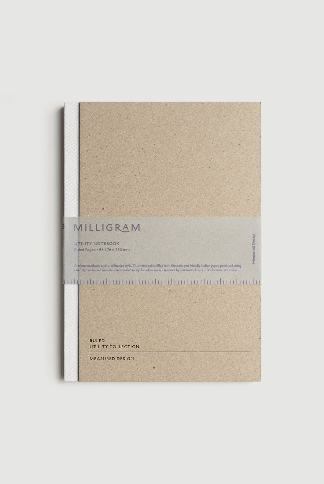 Milligram - Utility Notebook - Ruled - B5 (25 x 19cm) - White