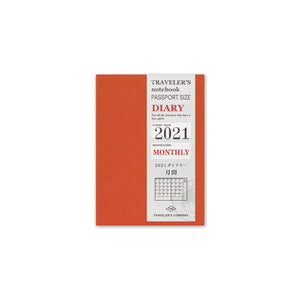 Traveler's Company - Traveler's Notebook 2021 Diary Refill - Set of 2 - Monthly - Passport