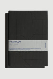 Milligram - Everyday Notebook - Set of 2 - Ruled - A4 (27 x 21cm) - Black