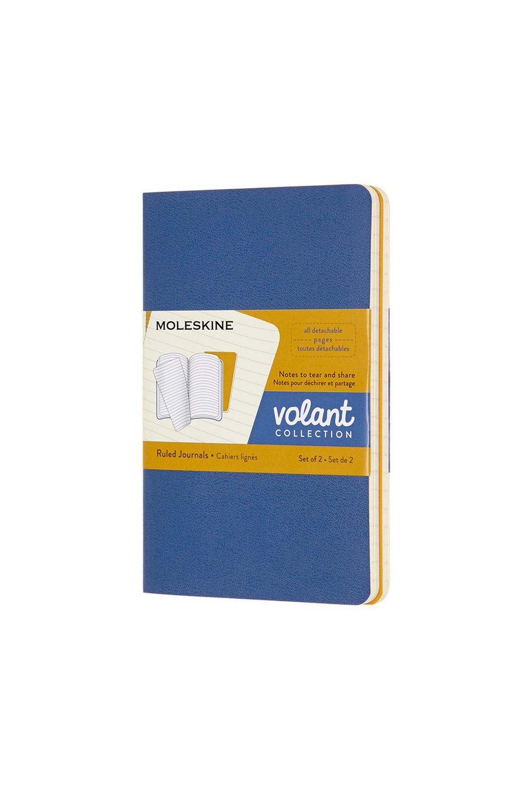 Moleskine - Volant Notebook - Ruled - Pocket (9x14cm) - Forget Me Not Blue & Amber Yellow