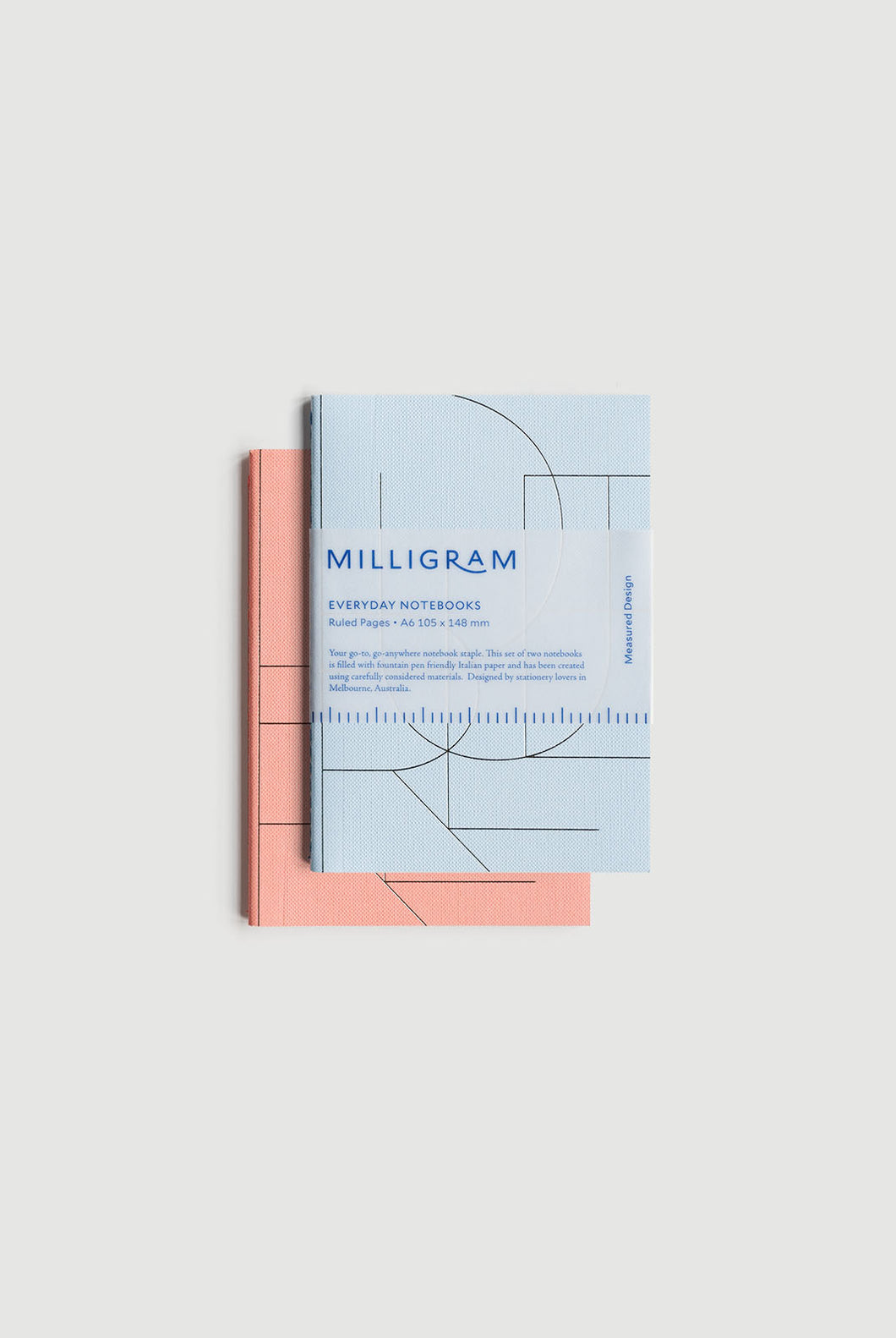 Milligram - Everyday Notebook - Set of 2 - Ruled - A6 (15 x 10cm) - Peach & Blue