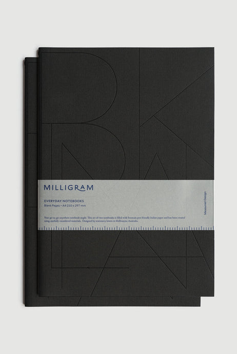 Milligram - Basic Notebook - Set of 2 - Blank - A4 - Black