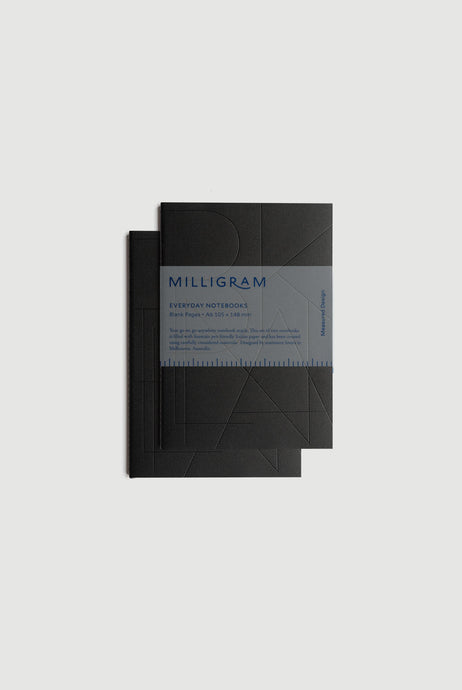 Milligram - Everyday Notebook - Set of 2 - Blank - A6 (15 x 10cm) - Black