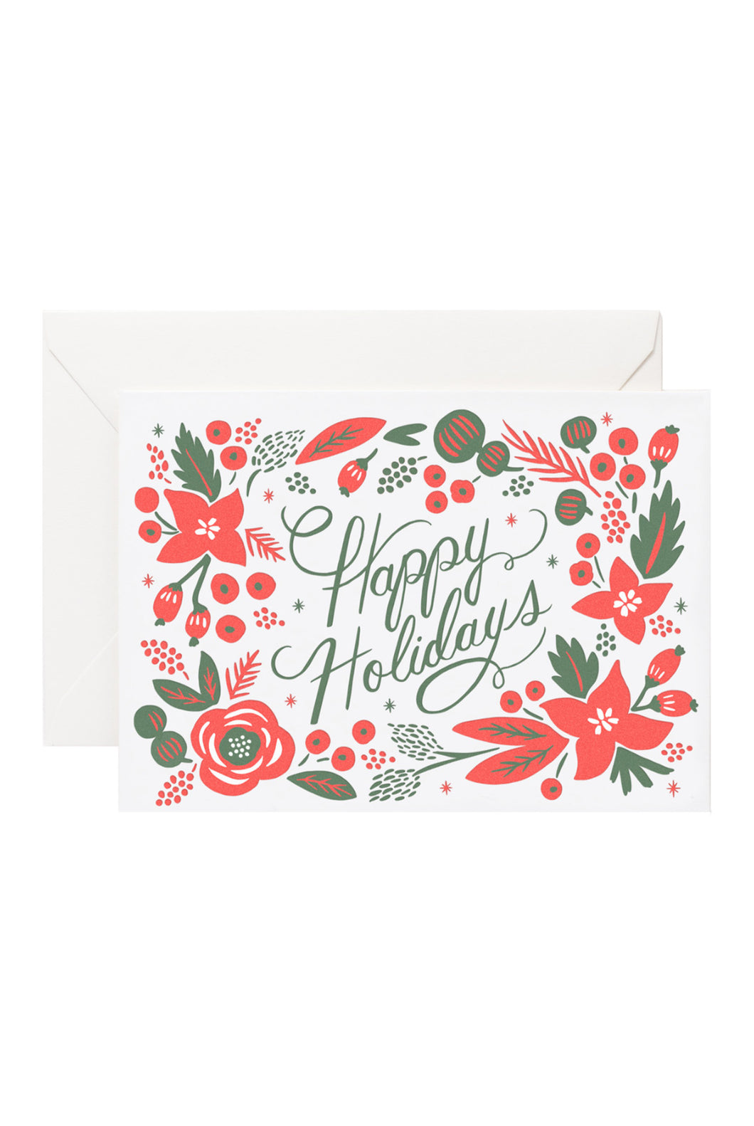 Rifle Paper Co - Single Card - Letterpress Poinsettia Happy Holidays
