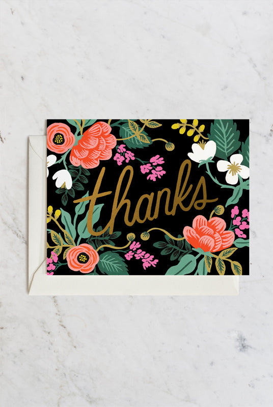 Rifle Paper Co - Single Card - Birch Floral Thank You