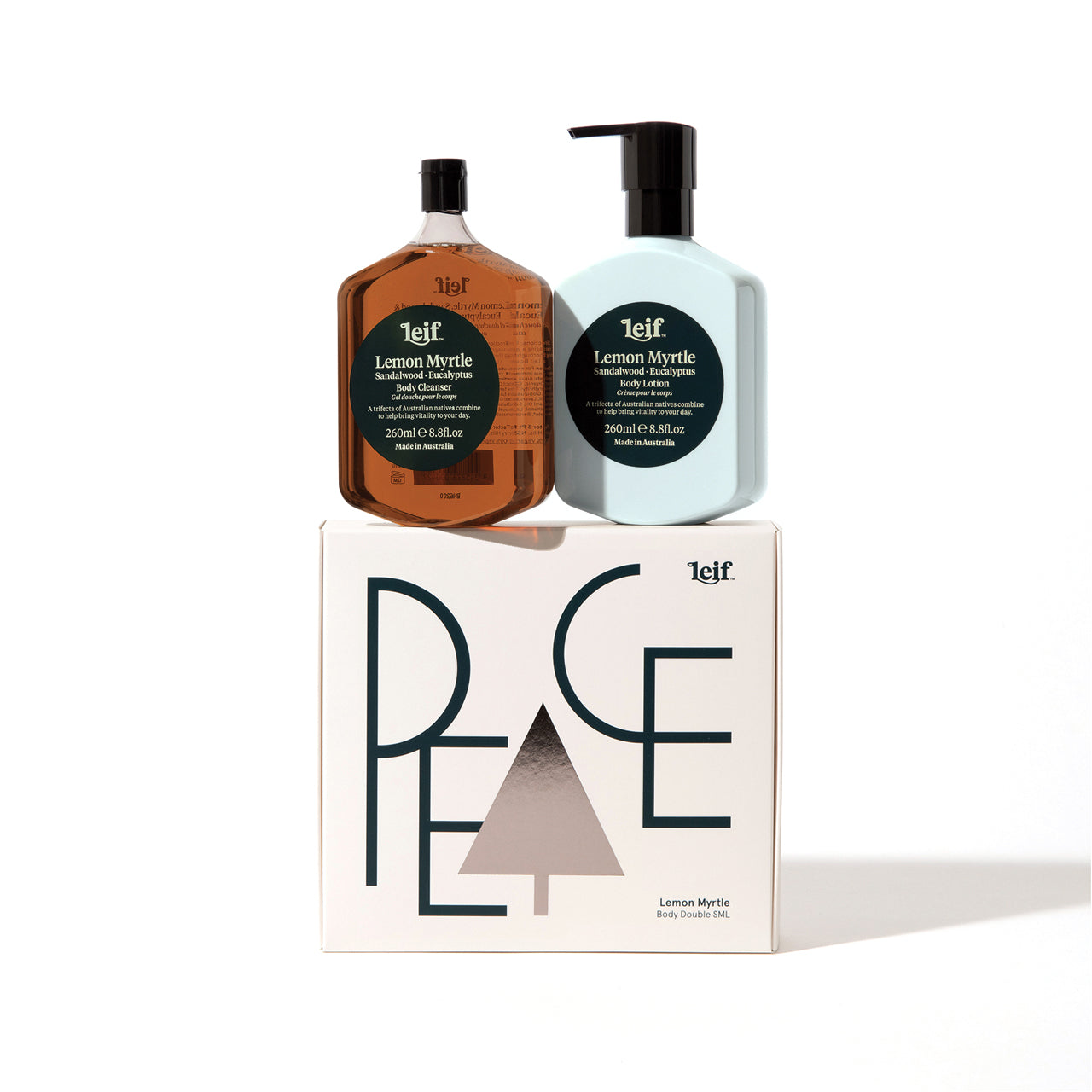 Leif - 'PEACE' Body Double Gift Set - Small - 260ml Body Cleanser & 260ml Body Lotion - Lemon Myrtle