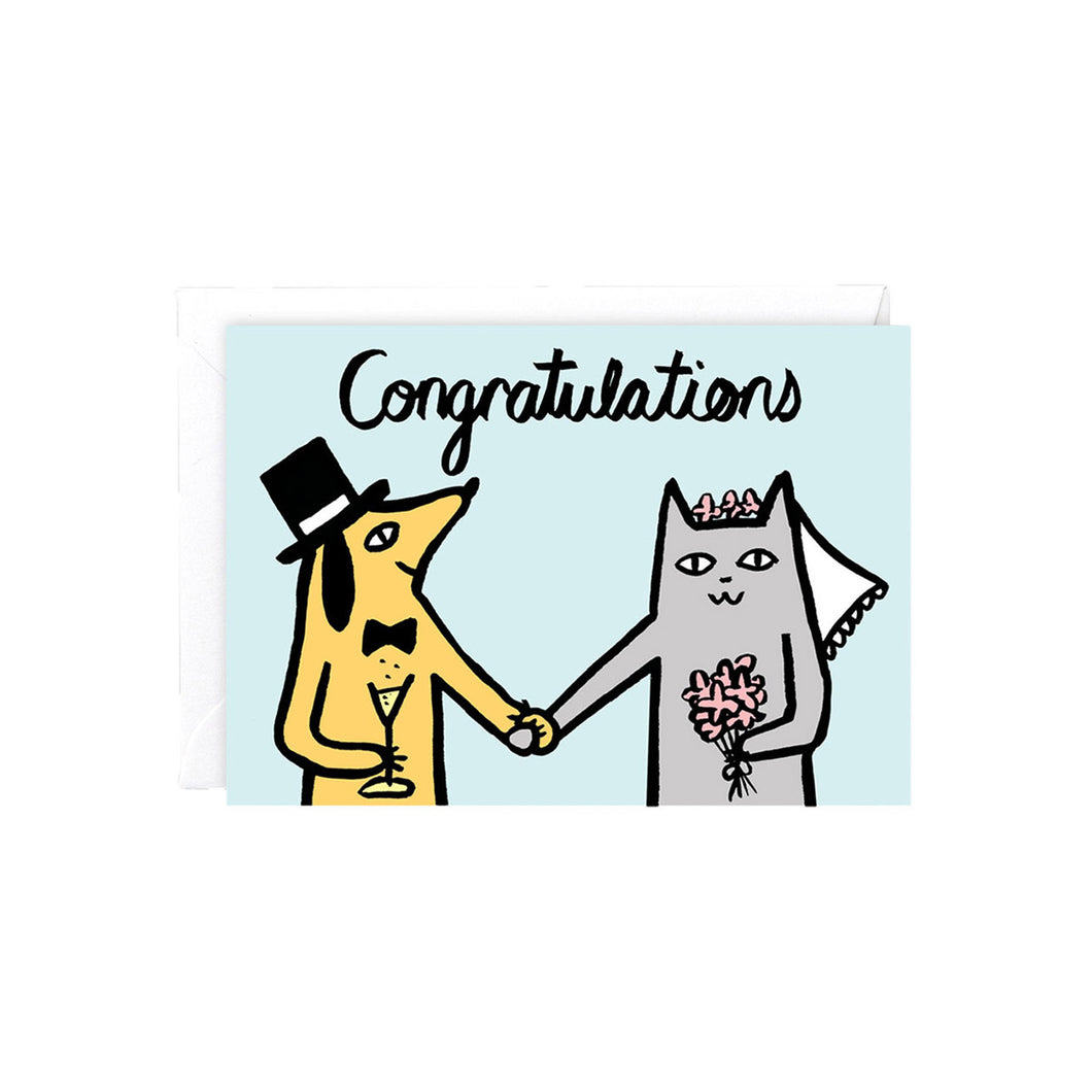 WRAP - Alice Bowsher Collection - Single Card - Congratulations Dog & Cat