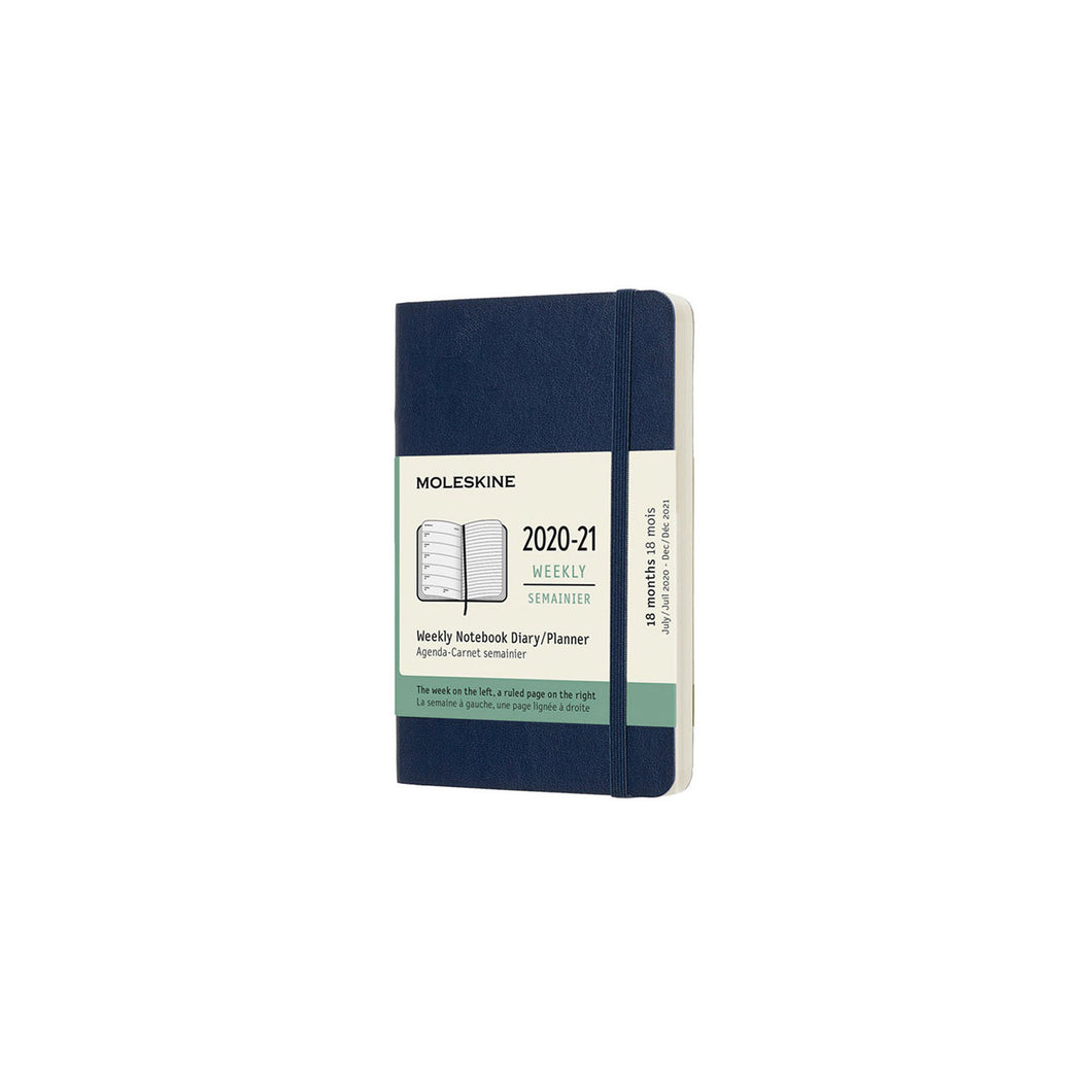Moleskine - 2020-21 18 Month Soft Cover Diary - Weekly Notebook - Pocket - Sapphire Blue
