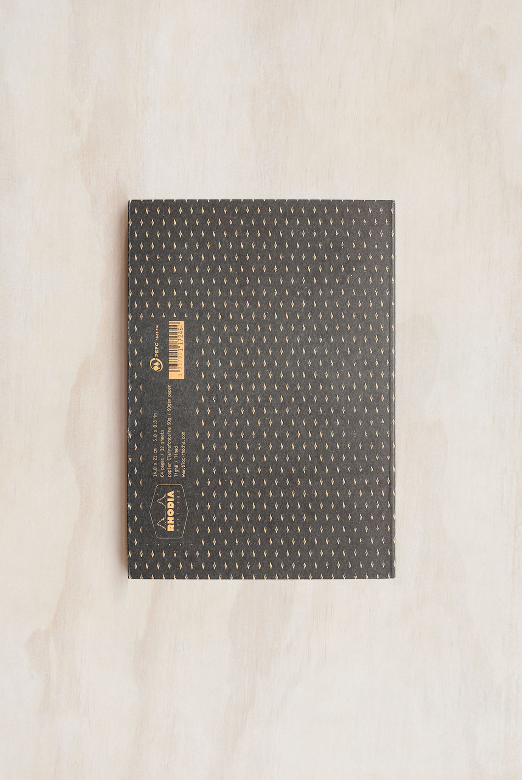 Rhodia - Heritage Notebook - Sewn Spine - Ruled - A5 (15x21cm) - Moucheture Black