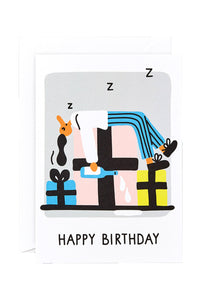 WRAP - Lawrence Slater Collection - Single Card - Happy Birthday Snooze