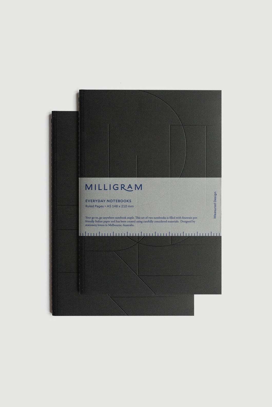 Milligram - Everyday Notebook - Set of 2 - Ruled - A5 (21 x 15cm) - Black