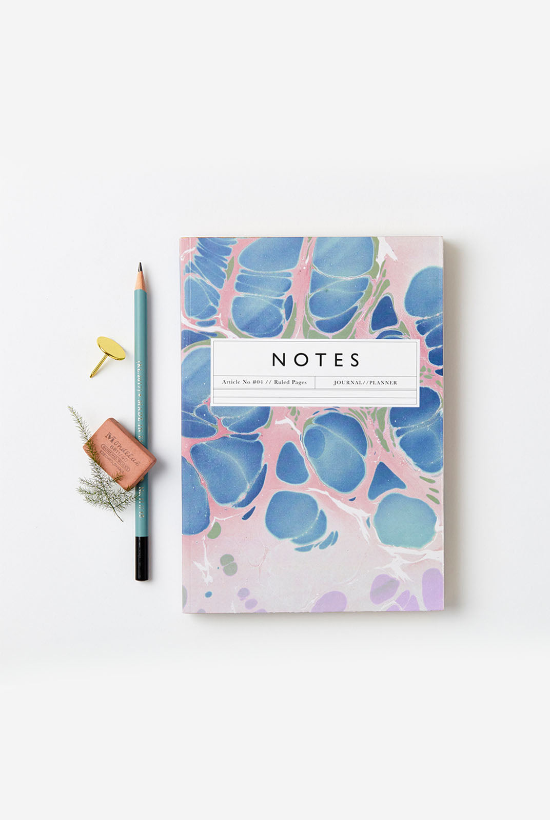 Katie Leamon - No.4 Marble Notebook - Ruled - A5 (20x14cm) - Pink Blue