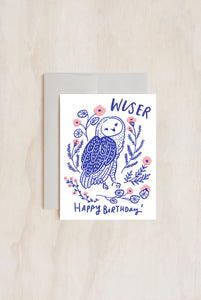 Hello Lucky - Single Card - Wise Old Owl Birthday