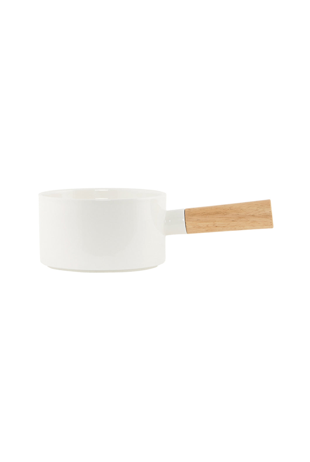 House Doctor - Porcelain Saucepan with Wooden Handle - Medium - White