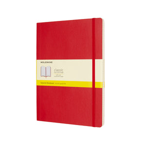 Moleskine - Classic Soft Cover Notebook - Grid - Extra Large - Scarlet Red