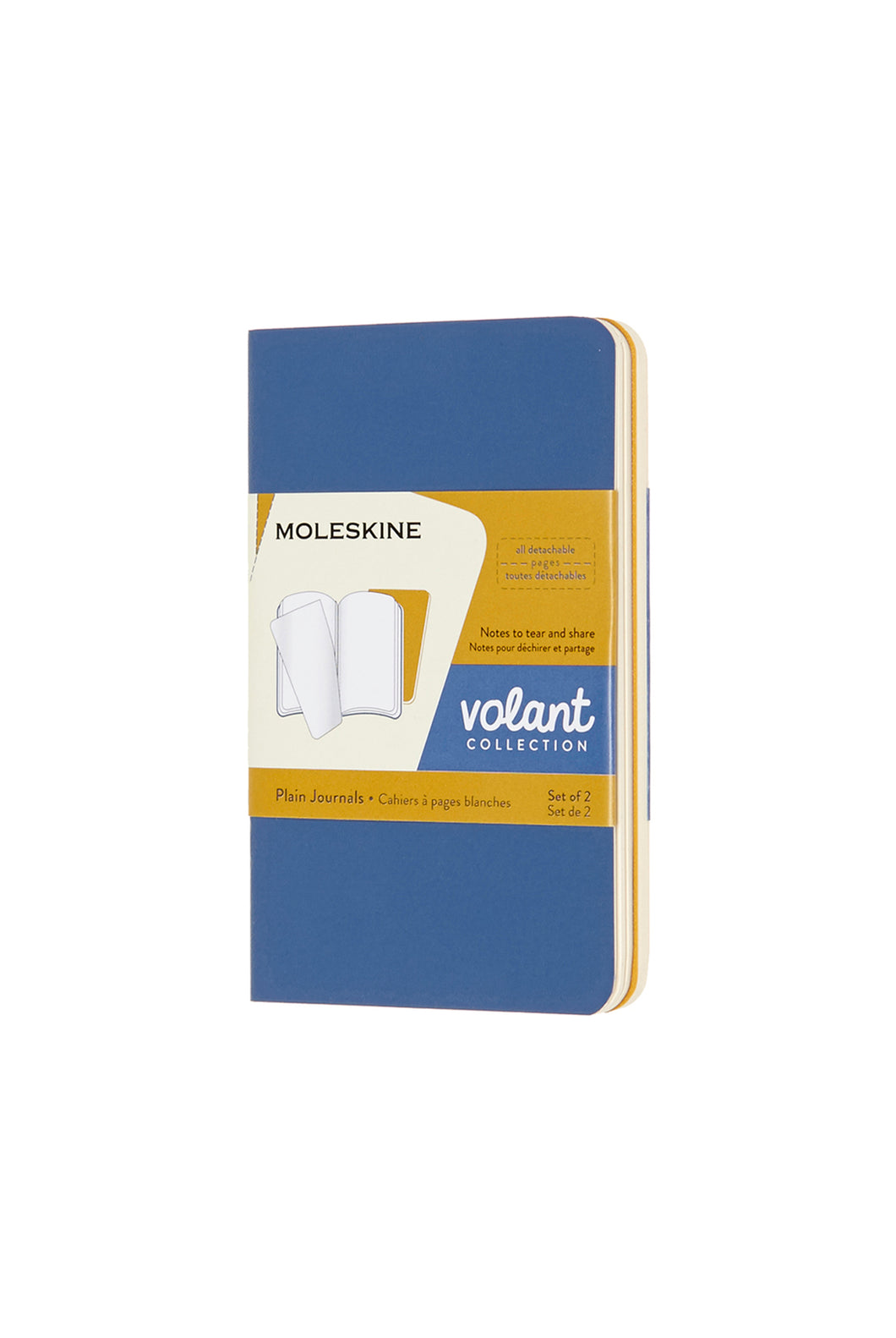 Moleskine - Volant Notebook - Plain - Extra Small (6.5x10cm) - Forget Me Not Blue & Amber Yellow
