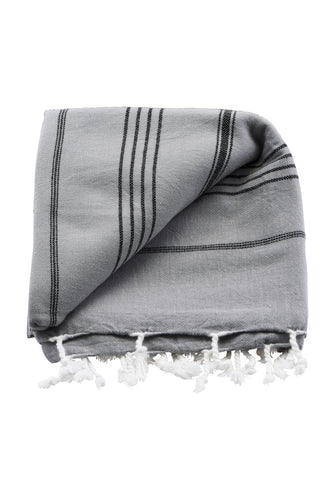 Meraki - Hammam Towel - Grey/Black