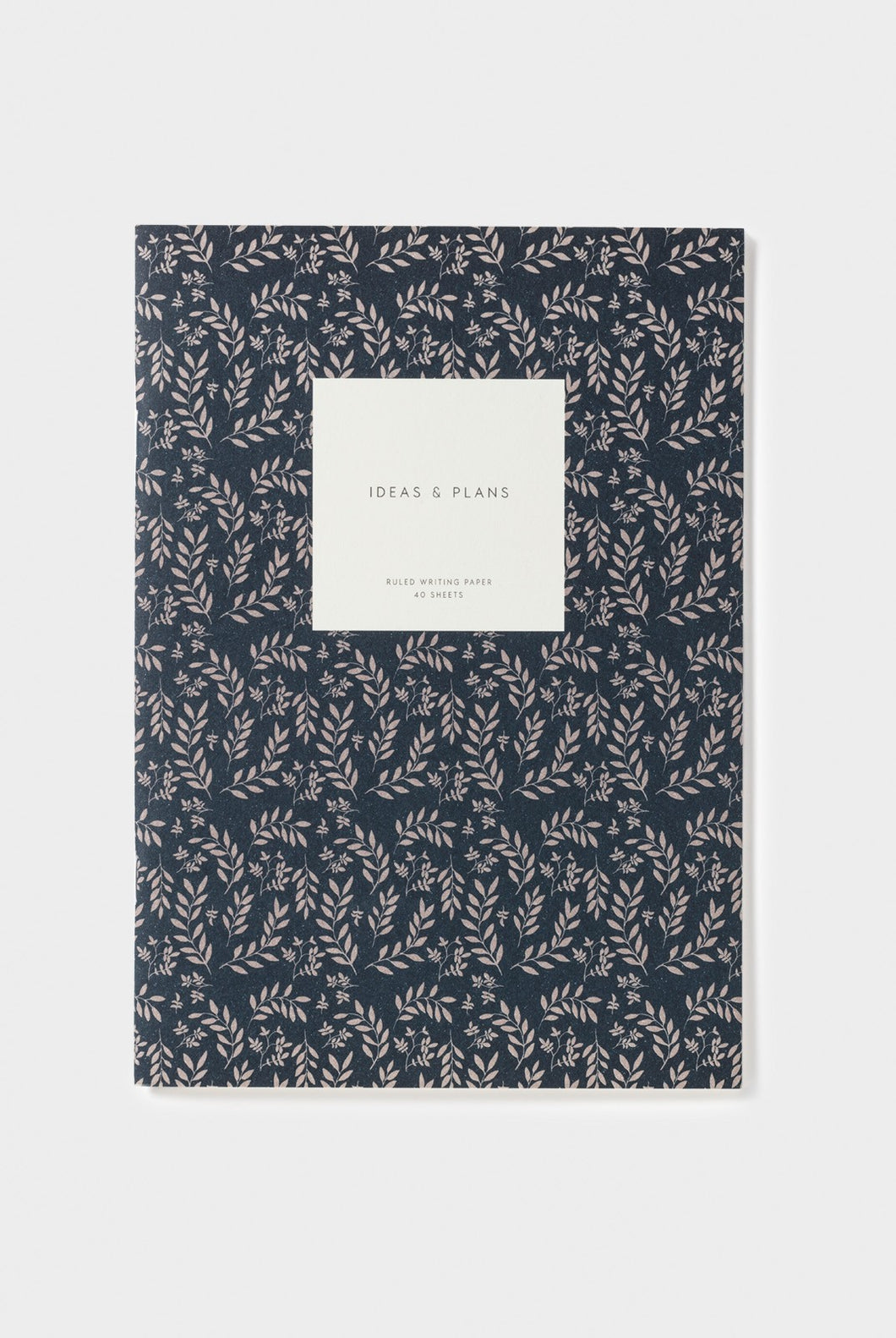 Kartotek - Leaves Notebook - Ruled - Large - Navy
