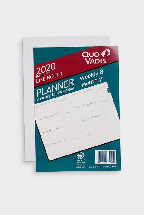 Quo Vadis - Life Noted 2020 Planner Diary - Weekly Horizontal - A4 (21.5 x 27.5cm) - Refill