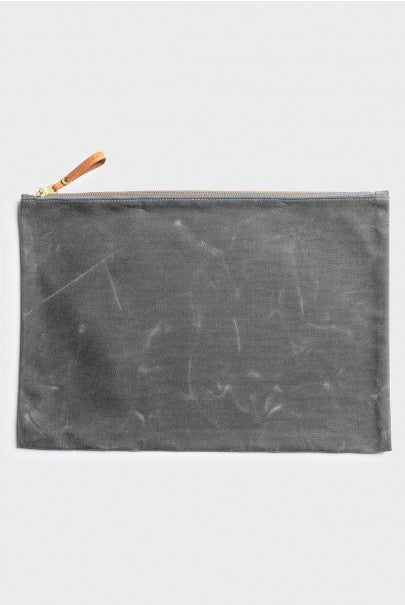 Winter Session - Large Zip Folio - Grey Waxed Canvas
