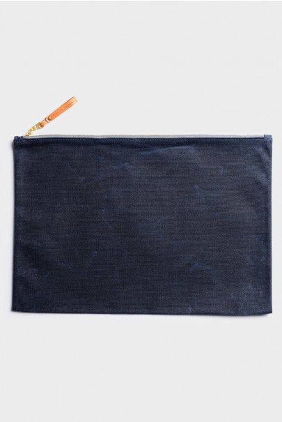 Winter Session - Large Zip Folio - Navy Waxed Canvas