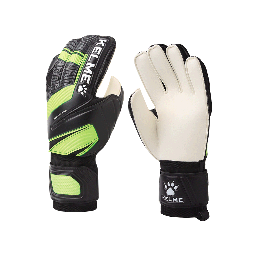 Goalkeeper Gloves for Matches Finger Protective Black neon