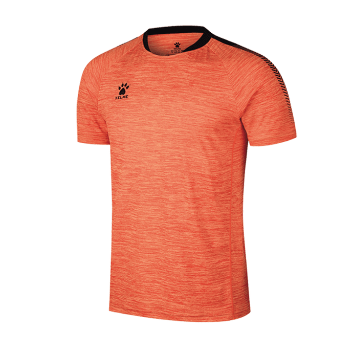 Men's Short Sleeve Football Shirt - Neon Orange / Black