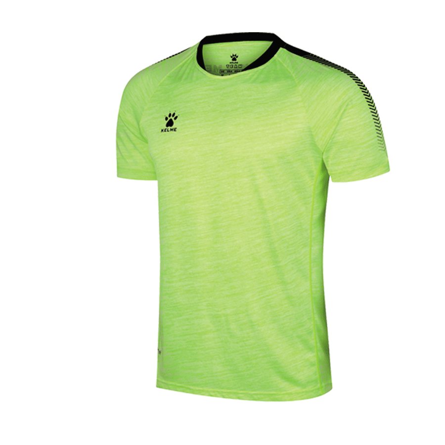 Men's Short Sleeve Football Shirt - Space Dye Neon Yellow / Black