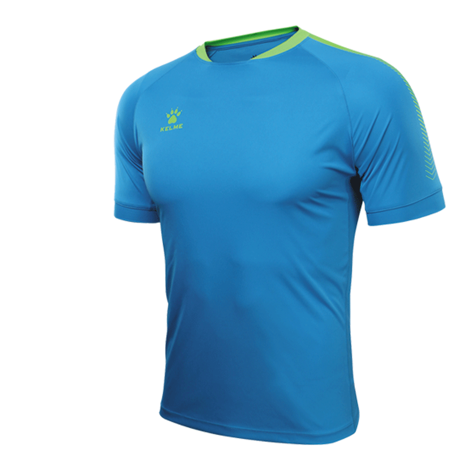 Men's Short Sleeve Football Shirt - Lake Blue / Neon Green