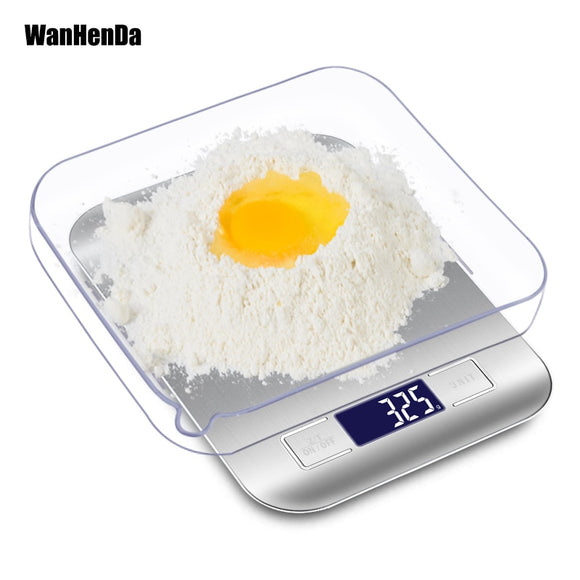 High Precision Electronic Kitchen Scales 5kg/1g LCD Digital Food Scale Stainless Steel Weight Scale Measuring Tools
