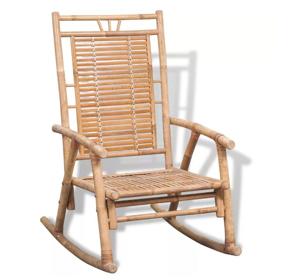 VidaXL Bamboo Rocking Chair Recliner Rest Lounge Deck Chair Furniture Reclining Rocker Multifunctiona Lounge Bamboo Chair
