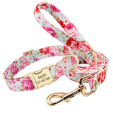 Personalized Floral Dog Collar and Leash Set Custom Small Medium Large Dog Pet ID Collar Lead Flower Print Dog Engraved Collars