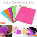 5pcs Dishcloth Set Kitchen Wash Dishes Towel Cleaning Cloth Rag Color Random PAK55